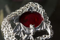 Gothic accessorie blood bat with silver chane Stock Images