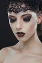 Gothic black beauty makeup portrait Royalty Free Stock Photo