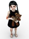 A gothic blood covered small girl an evil looking holding teddybear white background Stock Photos