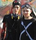 Gothic boys with dracula eyes at Goth-festival  Royalty Free Stock Photos