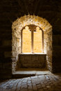 Gothic Castle Window Sunlight Pouring in Dark Contrast Architect Royalty Free Stock Photo