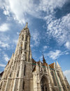 Gothic cathedral at castle of buda budapest hungary matthias church located in in front the fisherman s bastion Royalty Free Stock Images
