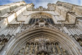 The gothic cathedral of st michael and st gudula in brussels low angle close up shot facade belgium Stock Images