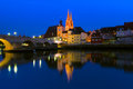 The Gothic cathedral of St. Peter's and the Stone Bridge of Regensburg, Germany Royalty Free Stock Photo