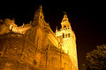 The cathedral lights a beautiful Seville night Royalty Free Stock Photo