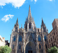 Gothic catholic cathedral facade steeples barcelona catalonia spain built in this is the main spire Stock Photography