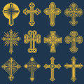 Gothic catholic cross vector icons, catholicism symbol Royalty Free Stock Photo