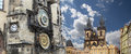 Gothic Church of Mother of God in front of Tyn and Astronomical clock in Old Town Square, Prague, Czech Republic Royalty Free Stock Photo