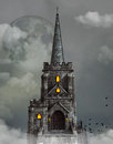 Gothic church over the clouds Stock Photography