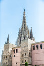 Gothic church spires in barcelona rising out of spain Stock Image