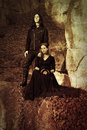 Gothic couple retro styling Royalty Free Stock Image