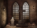 Gothic crypt with bones candles lamps and a cross Stock Photo