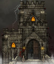 Gothic dark church with skulls halloween background Stock Photography