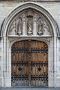 Gothic entrance to the church in the historic centre Royalty Free Stock Photo