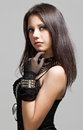 Gothic girl beautiful portrait on gray background Stock Photo