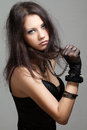 Gothic girl beautiful portrait on gray background Royalty Free Stock Photography