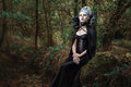 Gothic girl in the forest. Royalty Free Stock Photo