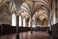 Gothic hall of the castle in Malbork. Royalty Free Stock Photo