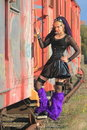 Gothic latex fashion on train Royalty Free Stock Photography