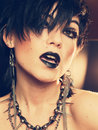 Gothic party girl isolated portrait of with lips emotion Stock Photos