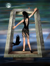 Gothic Princess in a Surreal Dreamscape Stock Images