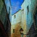 In gothic quarter of barcelona painting by oil on canvas illustration Royalty Free Stock Photography