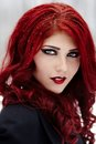 Gothic redhead woman closeup portrait of a redheaded Royalty Free Stock Images