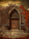 Gothic ruins with old door Royalty Free Stock Images