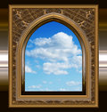 Gothic or scifi window with blue sky Stock Photography