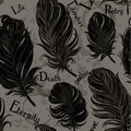 Gothic seamless background from black feathers romantic bird Royalty Free Stock Photo