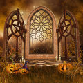 Gothic shrine with pumpkins fantasy halloween and candles Stock Photos