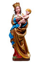 Gothic statue of mary the holy virgin madonna of thorn th century mediaeval is colored with gold and holds christ in her arms Royalty Free Stock Images