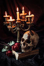 Gothic still life with skull Royalty Free Stock Photo