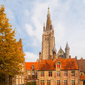 Gothic tower of Church of Our Lady in Bruges is the second tallest brickwork tower in the world Royalty Free Stock Photo