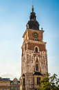 Gothic town hall tower in historical city of krakow poland Royalty Free Stock Photos