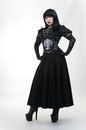 Gothic vampire girl in black dress Stock Photography