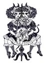 Gothic Victorian twin siamese demonic girls with voodoo stuffed toy and imp horns.
