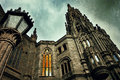 Gothic view on medieval beautiful parish church of san juan bautista impressive cathedral in arucas gran canaria spain filtered Royalty Free Stock Photography