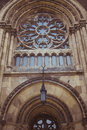 Gothic window on the facade of the cathedral of Olga and Elizabe Royalty Free Stock Photo