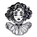 Gothic witch girl head portrait with curly hair and four eyes.