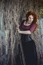 Gothic woman in black dress beautiful Royalty Free Stock Photography