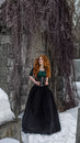 Gothic woman in black dress beautiful Royalty Free Stock Photos
