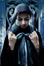 Gothic woman with head scarf Royalty Free Stock Photo