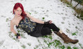 Gothic Woman Lying In The Snow