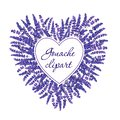 Gouache floral heart with lavender and white field to fill. Hand-drawn clipart for art work and weddind design
