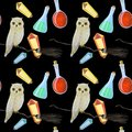 gouache magic seamless pattern with owl and crystall