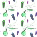 Gouache magic seamless pattern with magic wand, elixir and crystall
