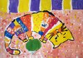 Gouache painting of a cat made by child Royalty Free Stock Photo