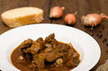 Goulash with venison in a white plate Royalty Free Stock Photography
