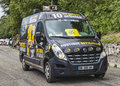 Gourette france july th the van of mobile boutique officielle of le tour de france on the road to mountain pass aubisque in Stock Image